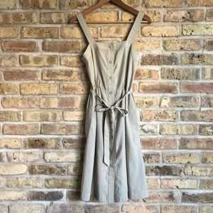 H&M Khaki Colored Button-Down Tie Dress
